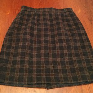 Vintage Brown Plaid Mini Skirt with Leather Hoops